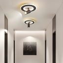 1 Light Mini Flush Mount Spotlight Minimalist Metal Semi Flush Lighting with Round/Square Canopy
