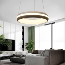 Integrated Led Round Hanging Lamp with Acrylic Diffuser Modern Pendant Light in Third Gear