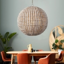 Wood Beaded Suspension Lamp with Globe Shade Country Style 1 Light Hanging Pendant Light