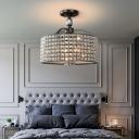Black/Chrome Round Ceiling Fixture Contemporary Acrylic Crystal Ceiling Lights for Corridor Hallway
