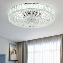 Round Crystal Close to Ceiling Light Modern Metal Creative Living Room Ceiling Chandelier