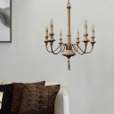 Distressed White Candle Chandelier Light Wooden 6 Lights French Country Pendant Light