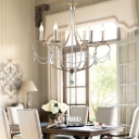 Candle Pendant Lighting French Vintage Metallic 6 Lights Decorative Chandelier