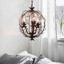 Wire Globe Chandelier Lighting Rustic Vintage Metallic Living Room Lighting in Antique Brass