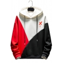 Mens New Stylish Colorblock Letter X Printed Long Sleeve Loose Fit Casual Pullover Hoodie