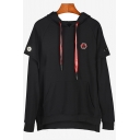 Mens Cool Fashion Rocket Badge Patched Long Sleeve Fake Two-Piece Black Casual Loose Hoodie