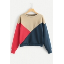 Color Block Round Neck Long Sleeve Apricot  Pullover Sweatshirt