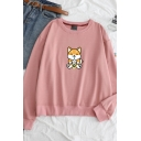 Cute Cartoon Dog Pattern Round Neck Long Sleeve Leisure Pullover Sweatshirt