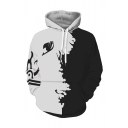 Comic Cosplay 3D Bird Print Color Block Long Sleeve Black And White Hoodie