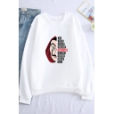 La Casa De Papel Popular Film Figure Letter Printed Round Neck Long Sleeve Casual Sweatshirt