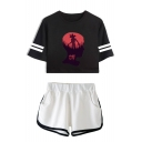 Cool Figure Head Print Striped Short Sleeve Crop Tee with Dolphin Shorts Two-Piece Set