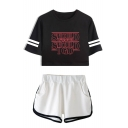 Fashion Letter Should I Go Print Short Sleeve Crop Tee with Dolphin Shorts Two-Piece Co-ords