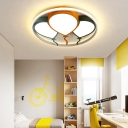 Nordic Cartoon Balloon Flush Mount Metallic Led Ceiling Flush Light with Acrylic Diffuser