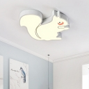 Cartoon Squirrel Ceiling Light Fixture Metal White Flush Mount Light with Acrylic Diffuser