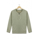 New Trendy Comic Cosplay Costume Lace-Up V Neck Long Sleeve Plain Light Green T-Shirt