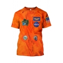 Summer Guys Cool Unique NASA Logo Printed Short Sleeve Orange T-Shirt