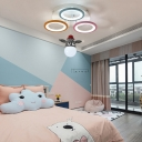 Novelty Animal Ceiling Light Fixtures Acrylic and Iron 4 Light Semi Flush Pendant Light for Kids Room