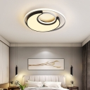Moon Indoor Flush Mount Fixture Acrylic LED Contemporary Ceiling light in Black and White