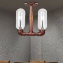 2-Light Pipe Semi Flush Mount Antique Iron and Glass Semi Flush Ceiling Lights for Bedroom Living Room