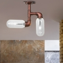 Antiqued Pipe Semi Flush Light Iron 2 Heads Semi Flush Ceiling Lights for Foyer Corridor Hallway