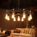Exposed Bulb Ceiling Pendant Light Vintage Steel 9-Light Chandelier Lighting Fixture for Bedroom