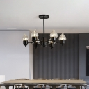 Black Candle Hanging Chandelier Lamp Retro Style Iron Chandelier Pendant Light for Bedroom