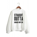 Hot Trendy Letter Straight Outta Dunder Mifflin Print Mock Neck Long Sleeve Pullover Sweatshirt
