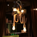 Mediterranean Anchor Island Lamps Rope Metal 2-Light Hanging Island Lights for Restaurant Coffee Shop
