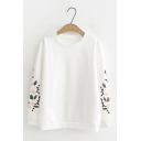 Simple Flower Embroidered Round Neck Long Sleeves Loose Pullover Sweatshirt