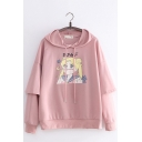 Popular Comic Girl Sailor Moon Letter Print Long Sleeve Pullover Hoodie