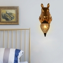 Golden Animal Wall Sconce Light with Teardrop Shade 1 Light Resin Wall Mount Light