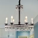 French Country Candle Pendant Chandelier Crystal Beaded Ceiling Pendant in Black for Kitchen Dining