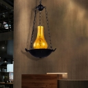 Yellow Crackle Glass Pendant Light Fixtures Modern Iron 1 Head Vase Hanging Ceiling Light for Restaurant