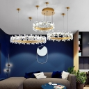 Metal Ring Hanging Pendant Light with Adjustable Cord and Clear Crystal Led Living Room Chandelier in Gold