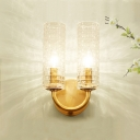 Brass Sconce Wall Lights Modern Metal 2 Heads Cylindrical Wall Sconce Lighting for Living Room