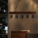 5 Light Wooden Hanging Pendant Lights Lodge Iron Hanging Ceiling Lights for Kitchen Island