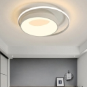 Metal Drum Flush Ceiling Light with Acrylic Ring Nordic Led Flush Mount Lighting