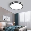 Black Drum Flush Lighting Metal Shade Led Modern Ceiling Flush Light with Diffuser