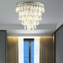 Silver Raindrop Ceiling Lights Modern Crystal Metal 3 Heads Lighting Fixture for Hallway
