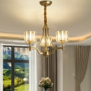 Gold Cylinder Chandelier Modern Crystal Metal 3/6/8/10 Lights Hanging Chandelier for Indoor