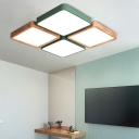 White/Grey/Green Square Ceiling Flush Mount Macaron Wood and Iron 4 Lights Flush Ceiling Lights for Kids Room