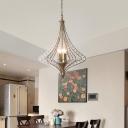 Geometric Chandelier Lamp Vintage Metal 4 Lights Foyer Pendant Light in Silver Leaf