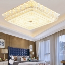 Circle/Square Flush Mount Ceiling Light Contemporary Clear Crystal Led Flush Lamp in Gold with Glass Diffuser