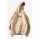Men's New Stylish Simple Letter U/N Print Long Sleeve Casual Sports Pullover Drawstring Hoodie