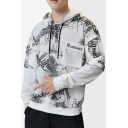Mens Unique Letter Graffiti Printed Pocket Front Long Sleeve Fake Two-Piece Casual Hoodie