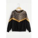 Unique Long Sleeve Leopard Patched Color Block Round Neck Leisure Sweatshirt