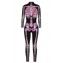 New Stylish Skeleton Pattern Long Sleeve Close-Fitted Jumpsuits