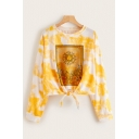 New Stylish Yellow Sun Letter Printed Round Neck Long Sleeve Crop Tie-Dyed Pullover Sweatshirt