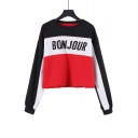 Trendy Letter BONJOUR Printed Color Block Round Neck Long Sleeve Pullover Sweatshirt