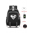 Cool Comic Logo Printed Creative USB Charge Students Traveling School Bag Backpack 30*15*44cm